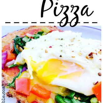 Cauliflower Crust Breakfast Pizza.  Gluten-free, dairy-free, and crazy healthy. Instant breafast - put an egg on it!