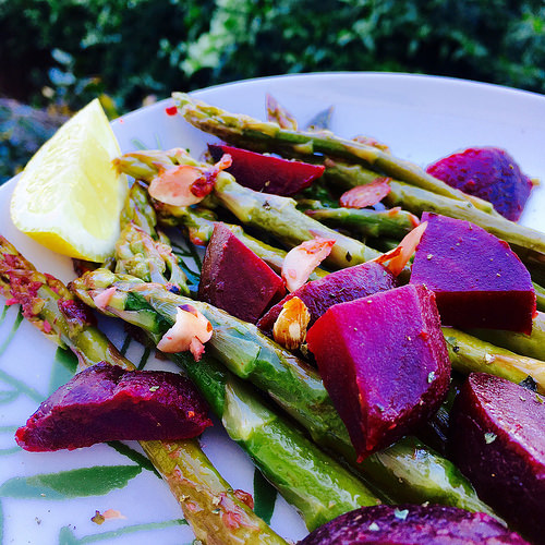 Lemon-Garlic Asparagus & Beets with Parmesan & Almonds - bright a flavorful for spring!