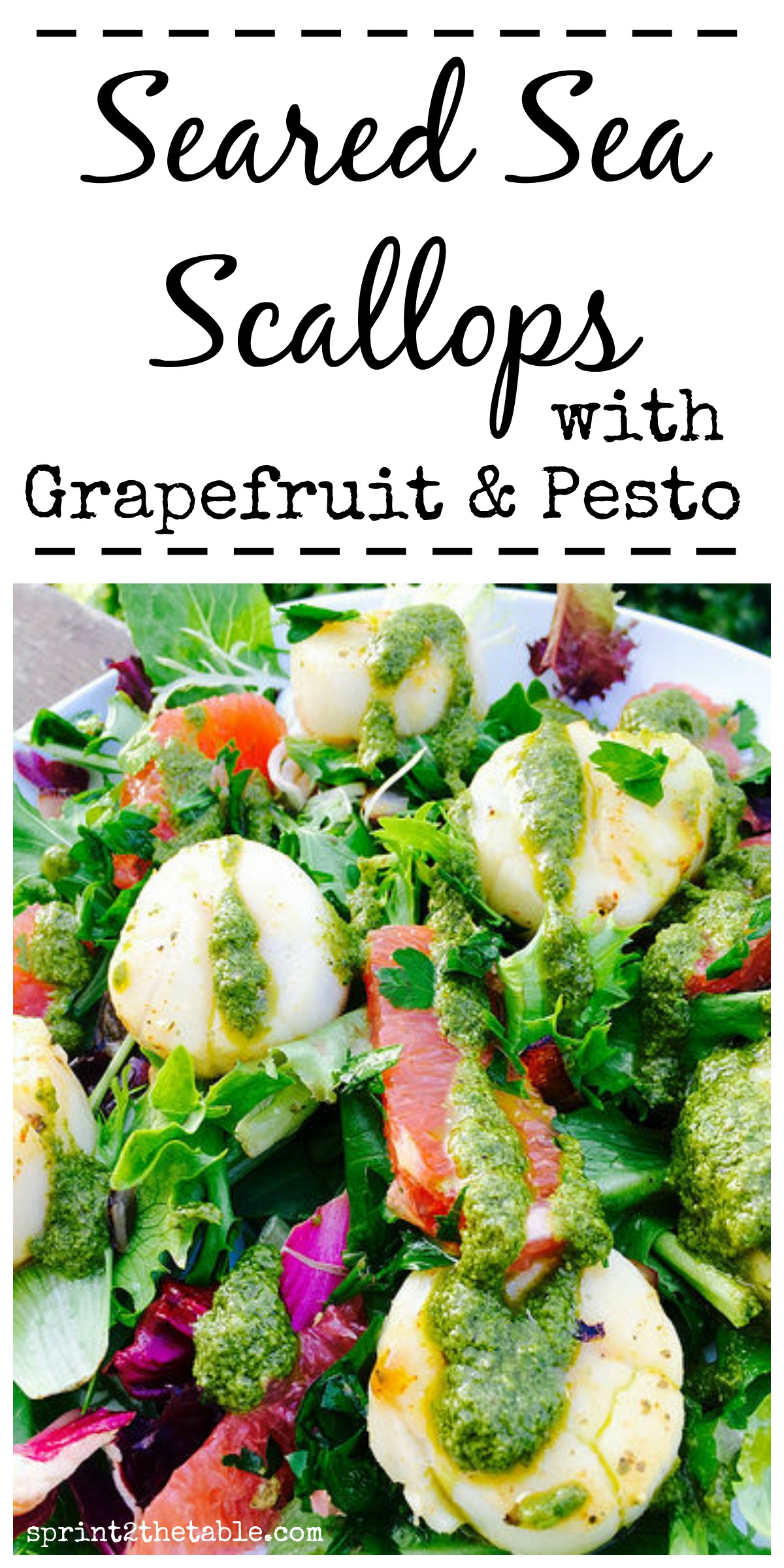 Seared Sea Scallops with Grapefruit & Pesto - this light and healthy dish packs a TON of flavor in each bite!