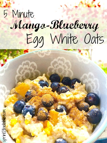 5 Minute Mango-Blueberry Egg White Oats - perfectly balanced, healthy breakfast that's high in protein and gluten-free!