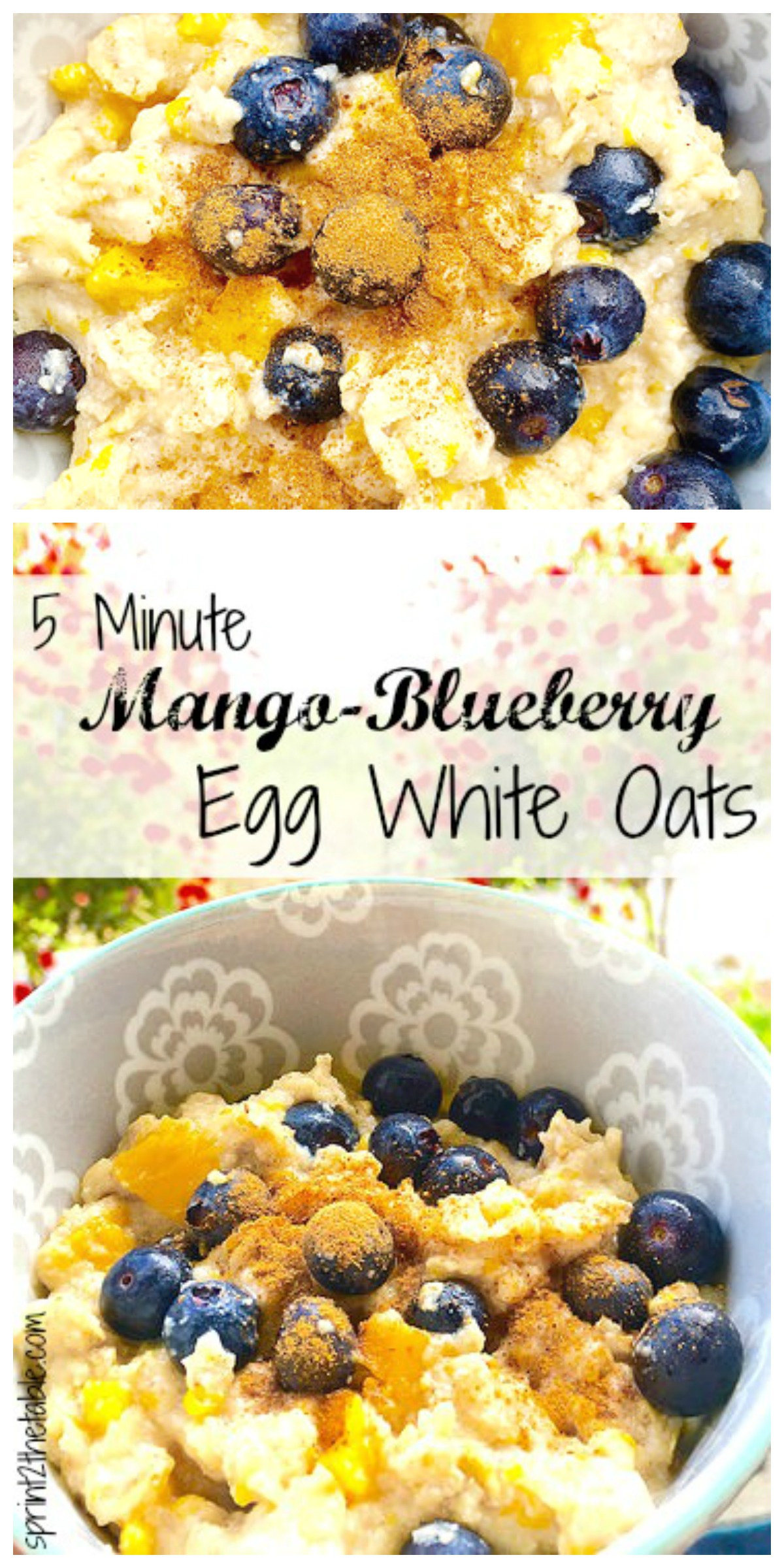 5 Minute Mango-Blueberry Egg White Oats - quick balanced and healthy breakfast that's high in protein and gluten-free!