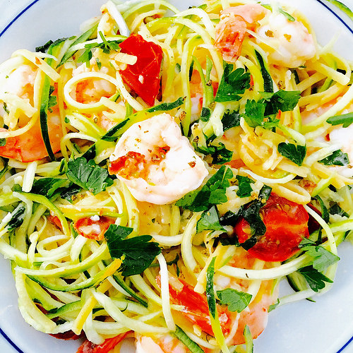 Lightened Up Shrimp & Zucchini Scampi - quick and easy gluten-free spring dinner!