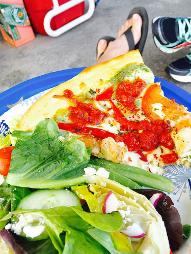 Pizza and salad from High Tide in Coronado