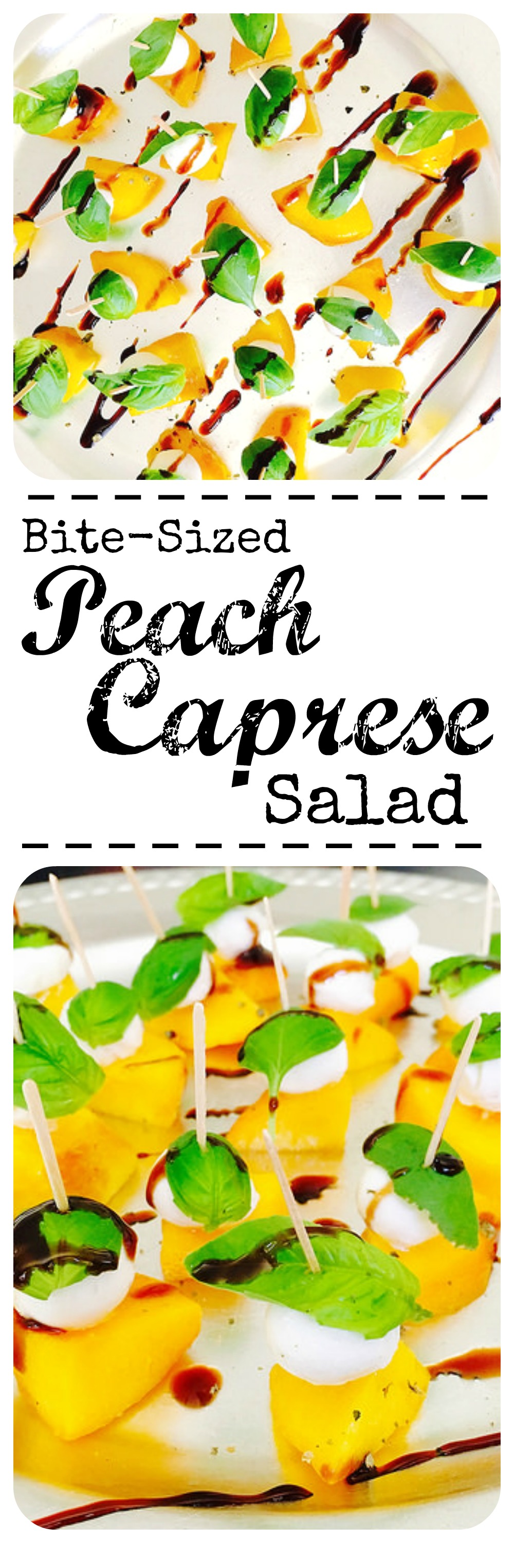If you're in need of a no-fuss hors d'oeuvre this summer, you came to the right place. Check out this Bite-Sized Peach Caprese Salad.