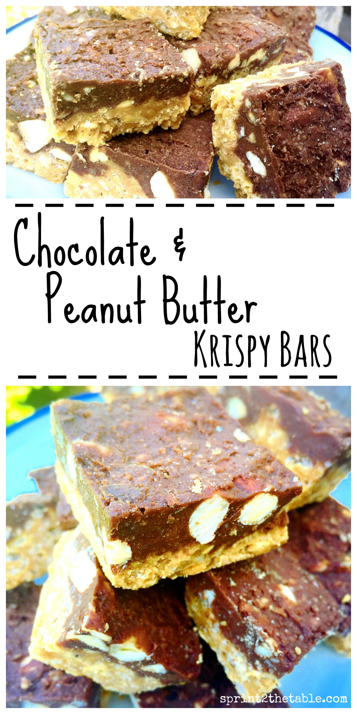 Chocolate & Peanut Butter Squares - it's like if Reeses and Crunch bars had a healthier baby.