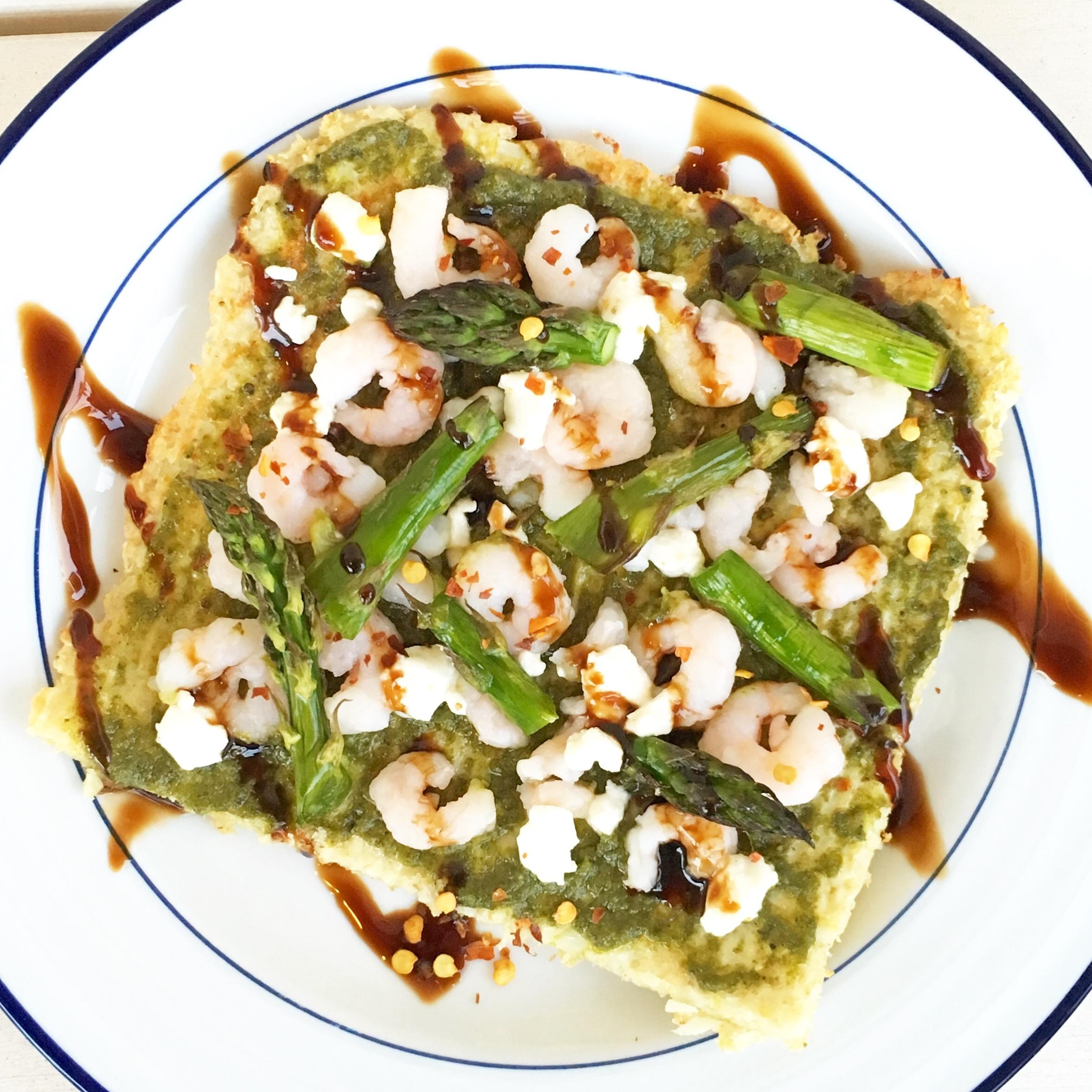 Walnut Pesto, Shrimp, and Asparagus Cauliflower Crust Flatbread