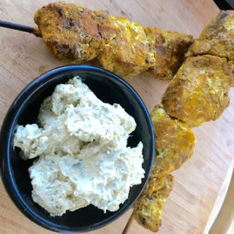 Middle Eastern Spiced Chicken Skewers with Herbed Tahini Sauce