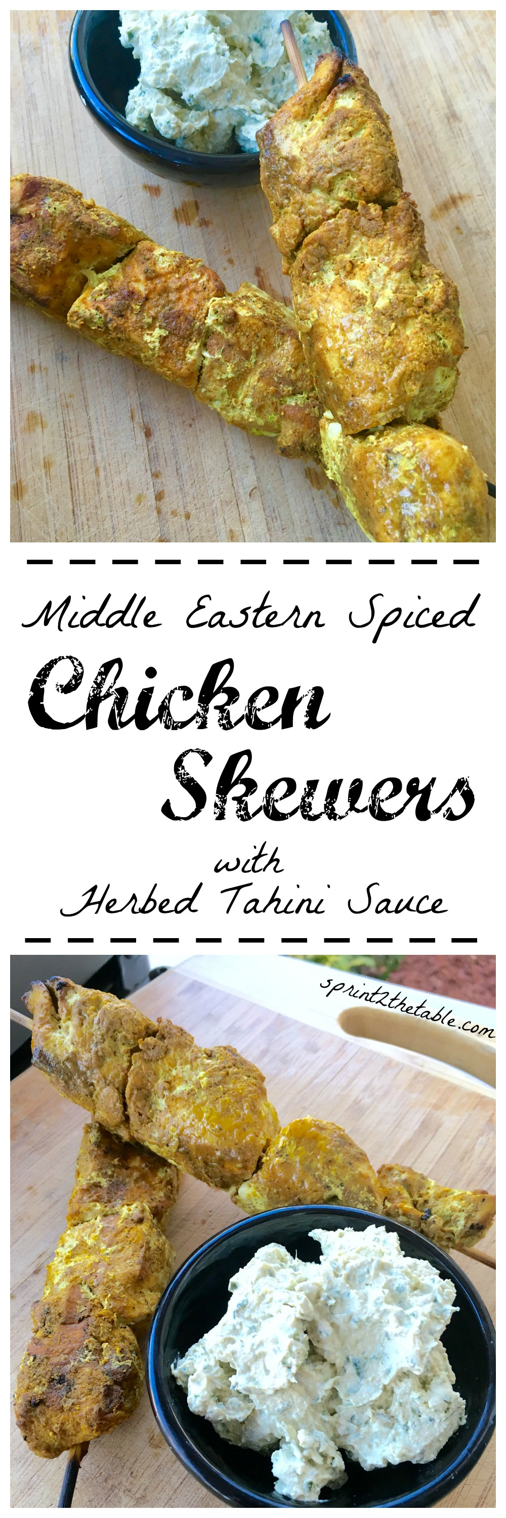 Middle Eastern Spiced Chicken Skewers with Herbed Tahini Sauce - these make a great summer dinner on the grill!