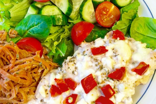 Easy Baked Feta & Chicken Recipe + WIAW