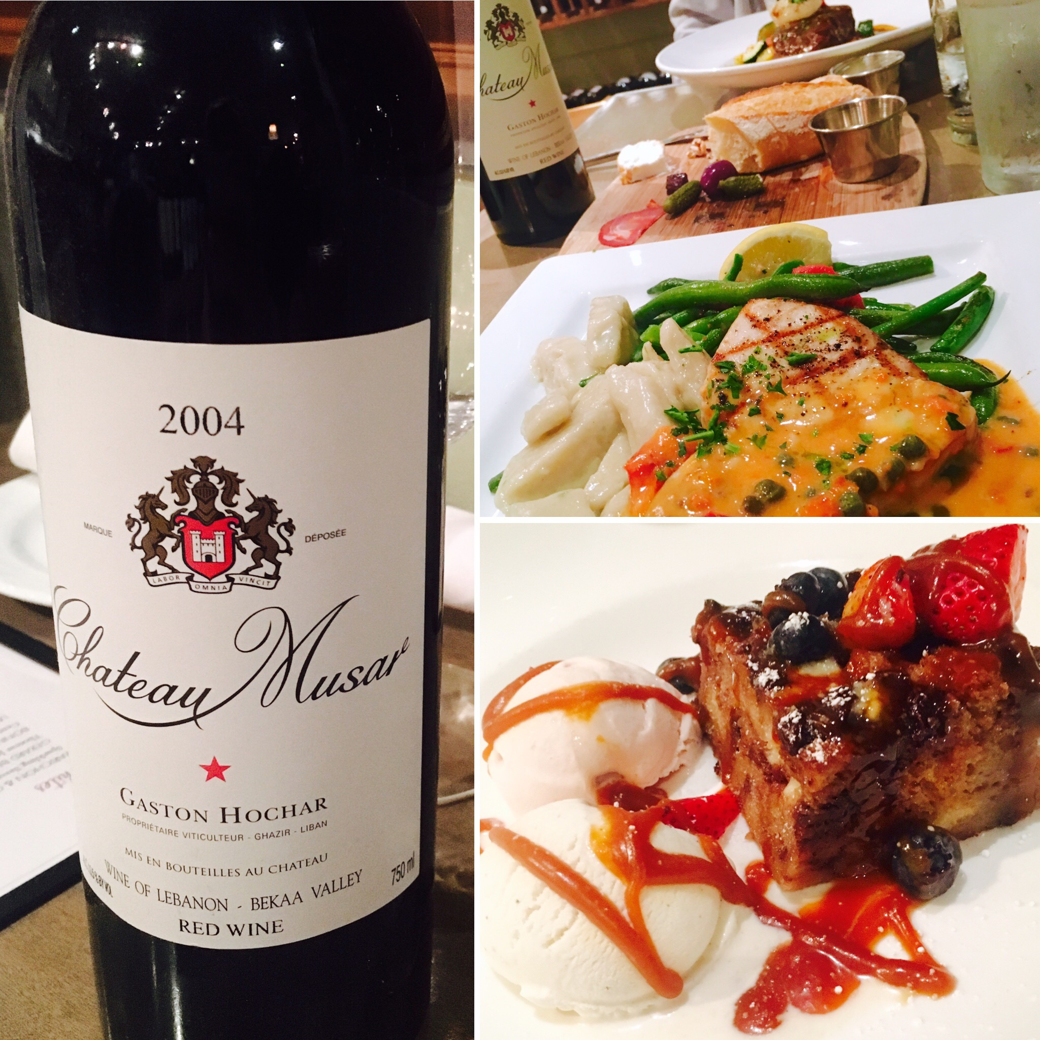 Dinner at 3rd Corner in San Diego with a bottle of Chateau Musar Lebanese wine