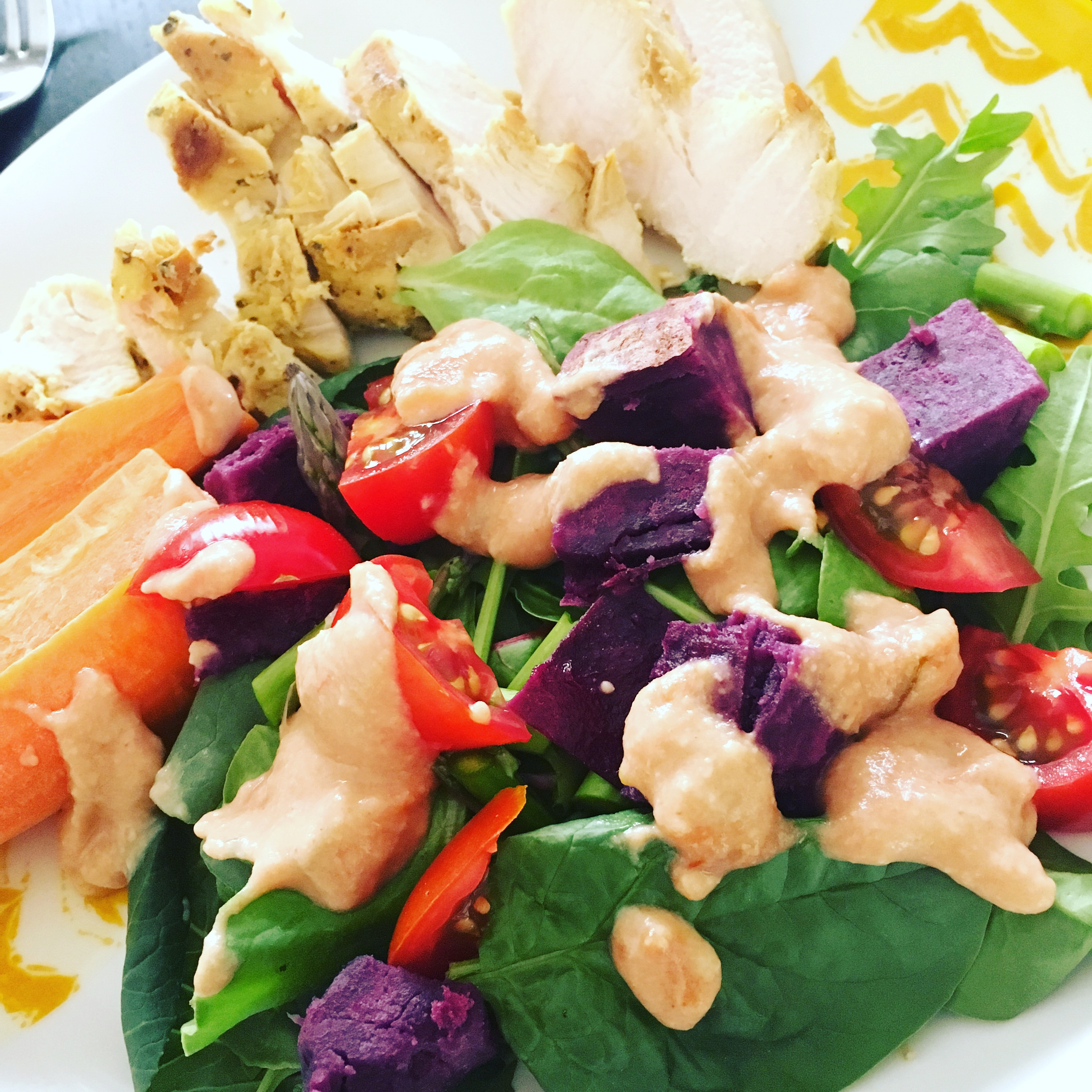 Salad with hummus salsa dressing