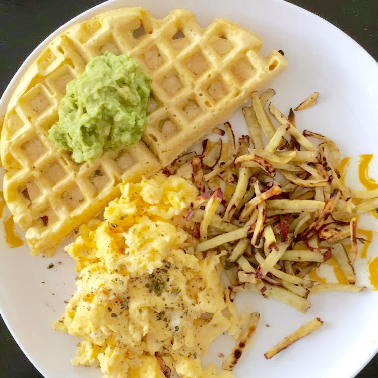 Socca Waffles with Japanese sweet potato hashbrowns and eggs