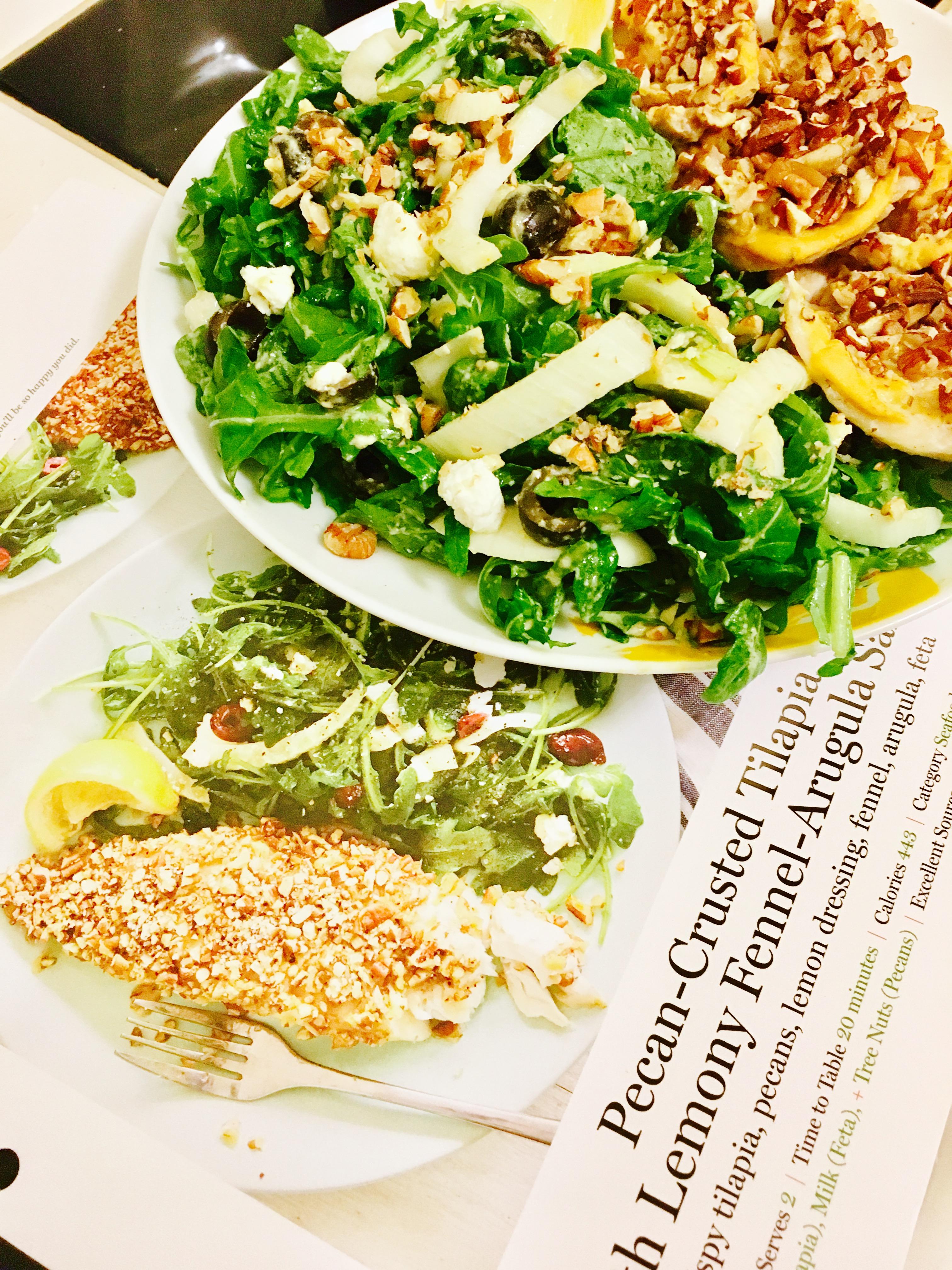 Pecan-Crusted Tilapia with Lemony Fennel-Arugula Salad