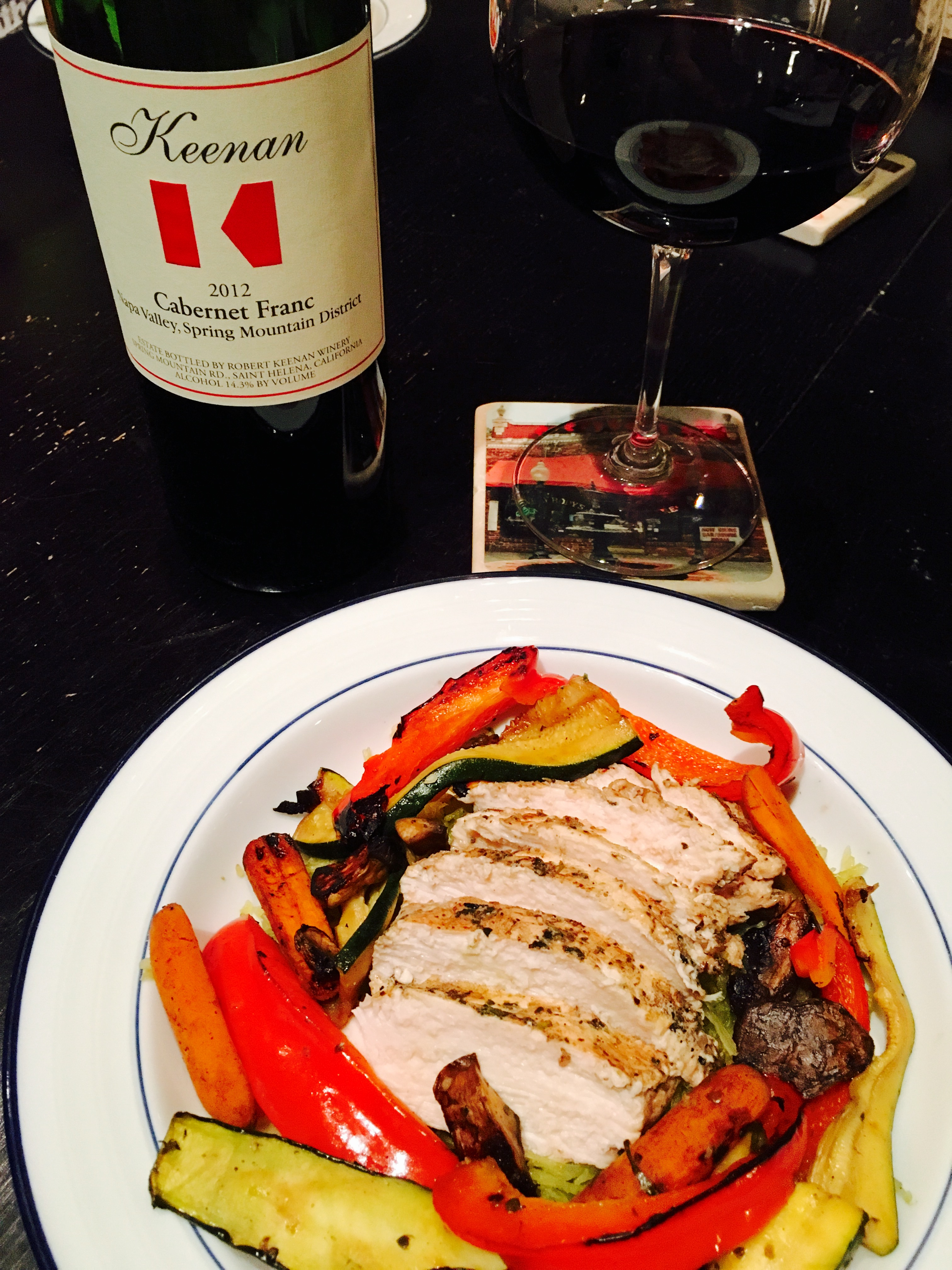 Balsamic chicken with grilled veggies and Keenan wine