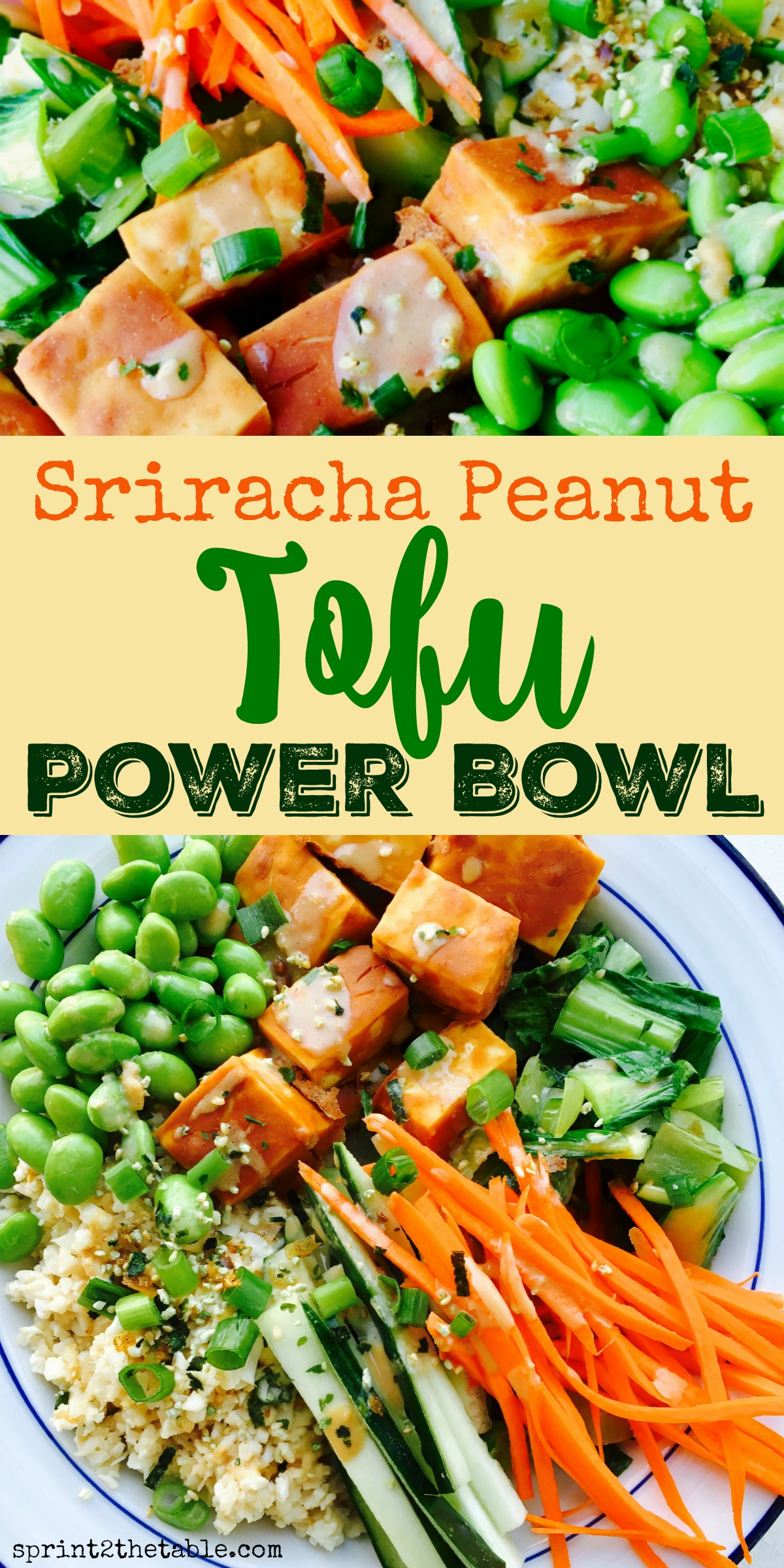 Get the recipe for this delicious and healthy Sriracha Peanut Power Bowl with Ginger Tahini Dressing! Full of nutrients, this dish will give your body a boost and keep you full longer! #vegan #powerbowl #recipe