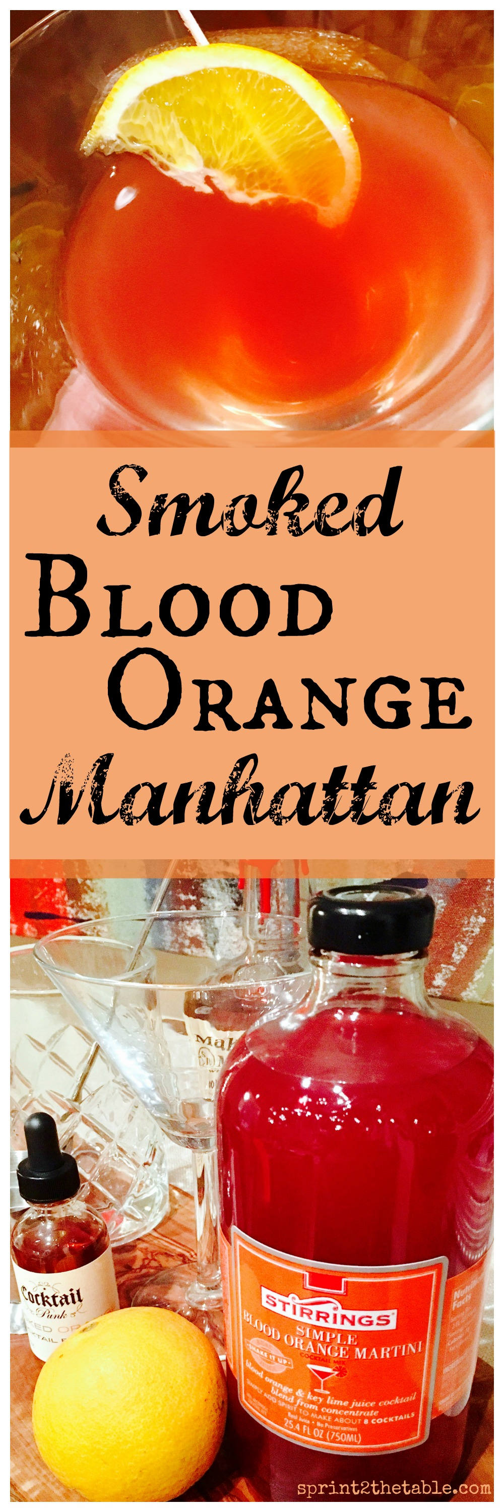 This Smoked Blood Orange Manhattan is a fun twist on a cocktail classic!