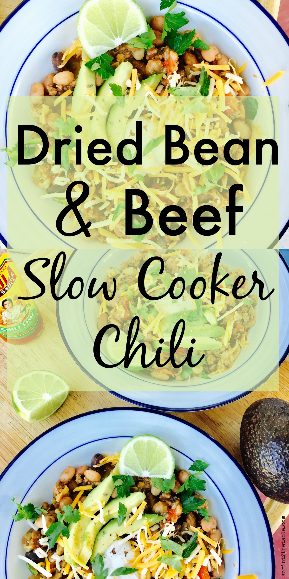 This Dried Bean and Beef Slow Cooker Chili is THE go-to chili recipe in my house.  It's simple and quick to throw together on a busy day!
