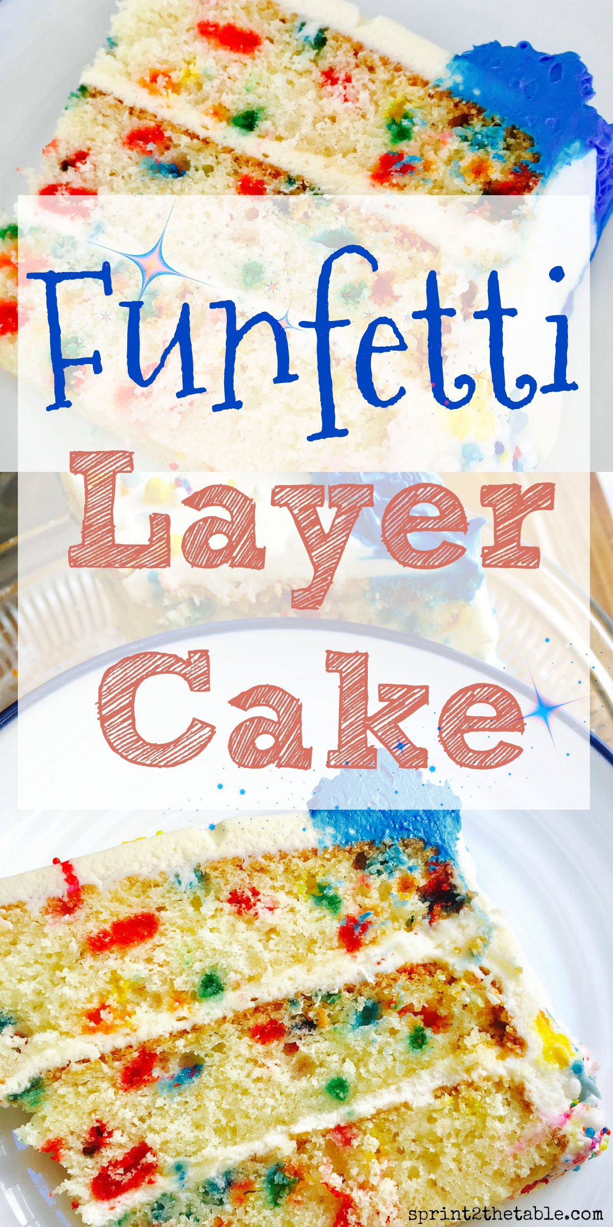 This Funfetti Layer Cake is easy to make, super moist, and full of sprinkles. Its delicious flavor iscompletely from scratch, and I promise it isn't hard!