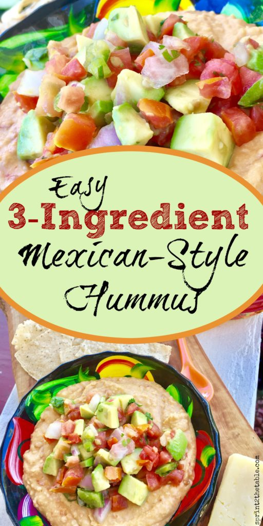 Elevate store bought hummus to another level of delicious with this easy 3-Ingredient Mexican-Style Hummus.  Your seconds from an impressive-looking dip piled with festive toppings.