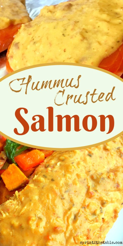 It may sound odd, hummus makes an excellent topping for salmon. It melts over the top of this Hummus Crusted Salmon, keeping the fish flavorful and its natural moisture locked in.