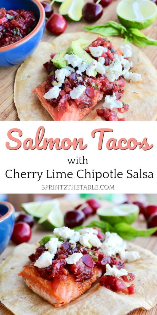 Salmon Tacos with Cherry Lime Chipotle Salsa are healthy and flavorful.  It may sound a little strange, but this sweet and savory dish will be your new favorite Taco Tuesday dinner!
