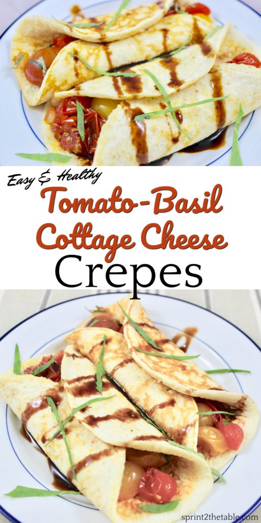 Easy Tomato-Basil Cottage Cheese Crepes are a perfect, healthier breakfast.  No one will guess that these savory crepes are packed with protein!
