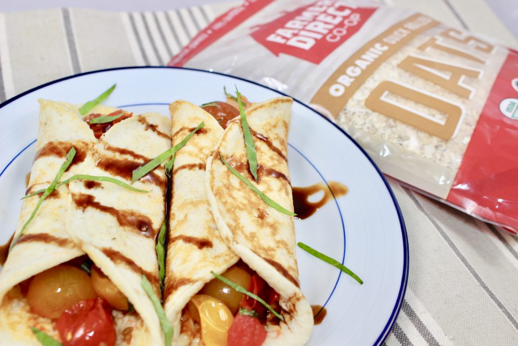 Easy Tomato Basil Cottage Cheese Crepes