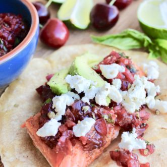 Salmon Tacos with Cherry Lime Chipotle Salsa