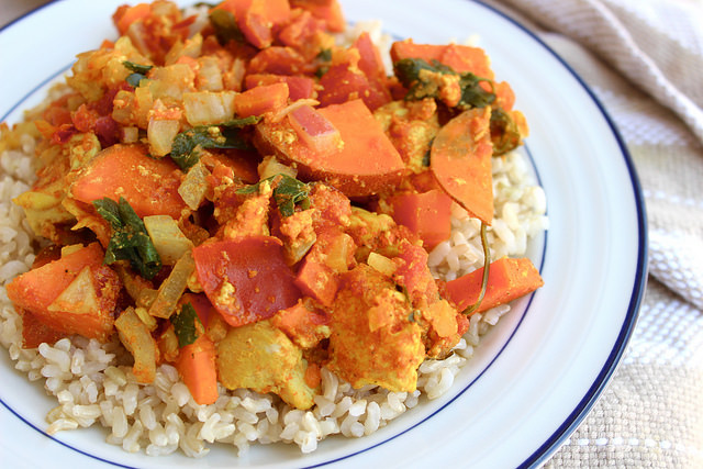 This delicious, healthy, budget-friendly, one-pot meal is one of our favorites for busy weeks. The spice combination is full of healing ingredients like turmeric and cinnamon. Serve over rice or on it's own!