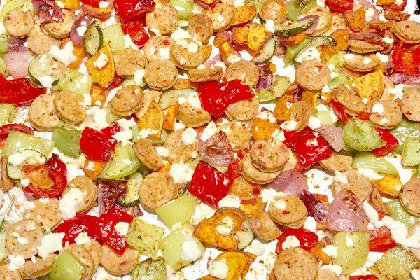 One Pan Mediterranean Chicken Sausage & Vegetables