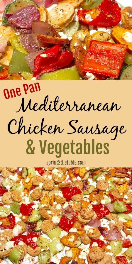 ThisOne Pan Mediterranean Chicken Sausage & Vegetables dish is the perfect weeknight meal. Healthy, easy clean up, and it takes less than 10 minutes to prep!