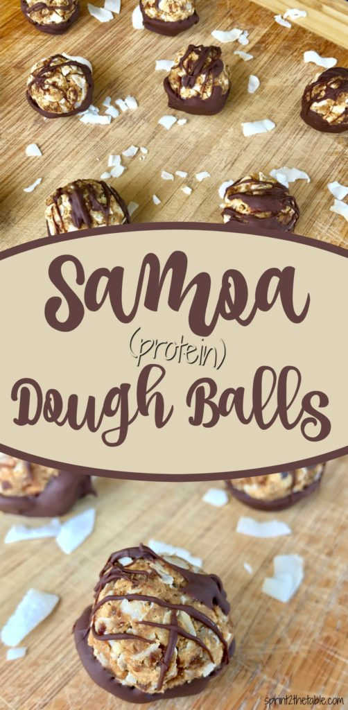 Raise your hand if you're a Samoa fan. This copy-cat Samoa is a healthier, protein-packed version of the Girl Scout Cookie classic. It's a perfect snack or dessert bite!