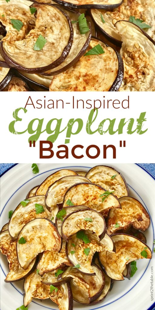 "Asian-Inspired Eggplant ""Bacon"" is a crispy, delicious crave-worthy recipe.  It's air quote ""bacon,"" but that doesn't mean it lacks that same crack-like umami flavor we can't resist!"