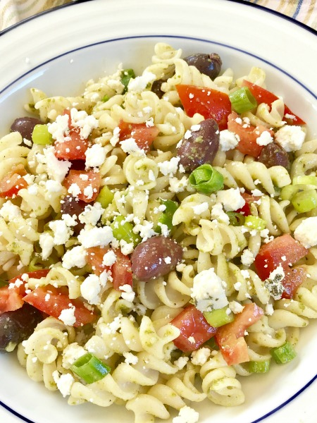 This gluten-free pasta salad comes together quickly and is delicious served warm or cold.  It's a great one to add to the week's meal prep plan!
