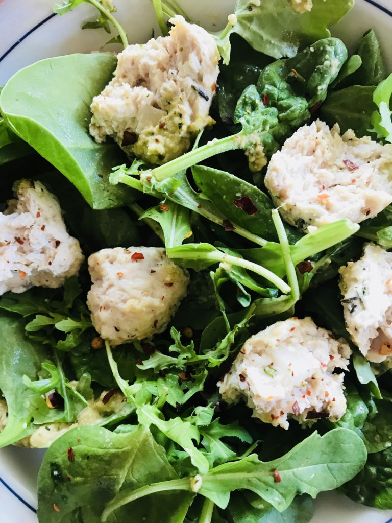 Chicken meatballs and salad