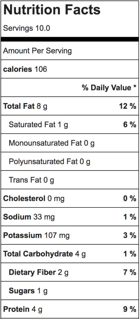 Paleo Zucchini Hummus nutrition