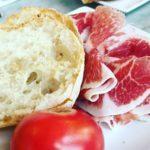Tomato bread and iberico ham at El Sortidor in Barcelona