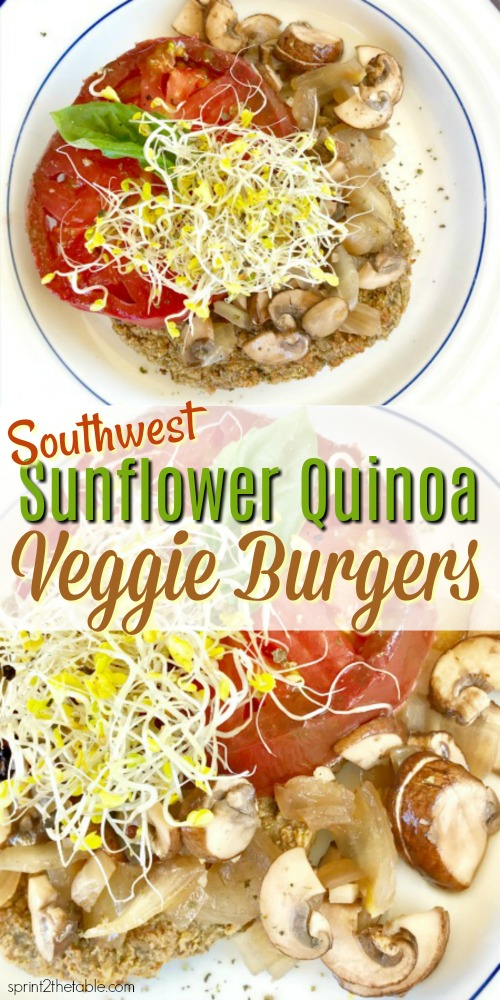 Southwest Sunflower Quinoa Veggie Burgers are a delicious, healthy make-ahead meal.  While this burger doesn't include beef, it is packed with the flavor of rich southwest spices.  Meat-eater approved!