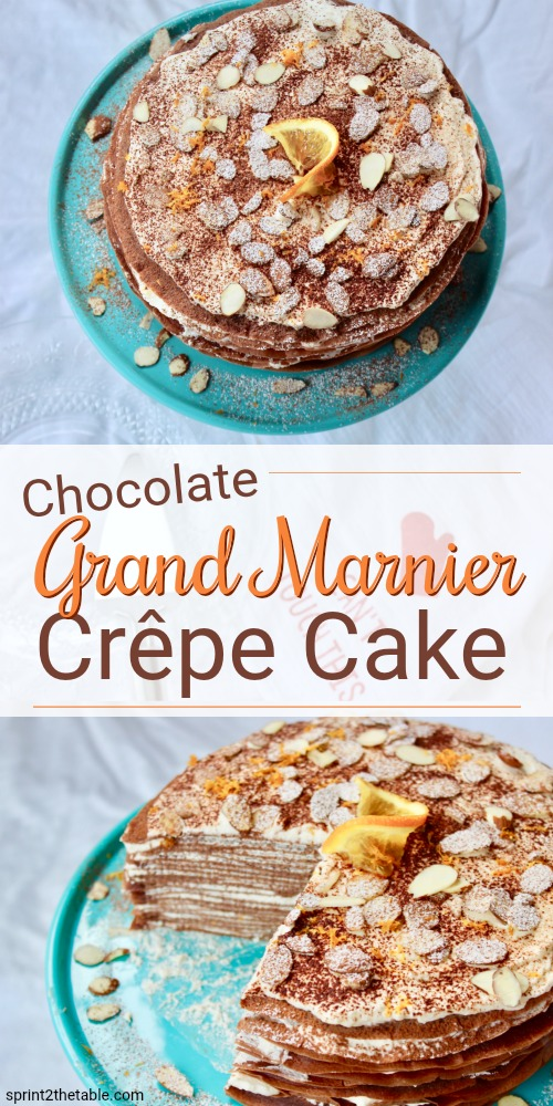 Delicate chocolate crêpes are layered with Grand Marnier pastry cream, resulting in a simple-yet-elegant cake. Don't be intimidated - crêpes are easier than you think and well worth the effort for the resulting Chocolate Grand Marnier Crêpe Cake.