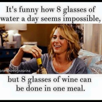 8 glasses of wine... so much easier than water!